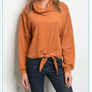Sweaters - Cowl Neck Tie Front Sweater